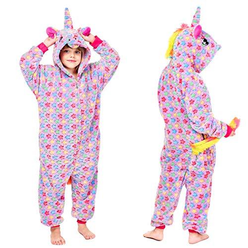 Mädchen Jungen Regenbogen Einhorn Onesies Pyjamas, Kinder Cosplay Onesies Halloween Pyjamas, Kapuze Supersoft Fleece Jumpsuit Playsuit Wear. (Lila, 140)