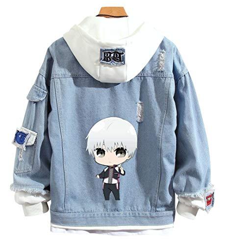 RuihaiTra Anime Tokyo Ghoul Sudadera con capucha Kaneki Ken de mezclilla con capucha para adultos Azul 4 L