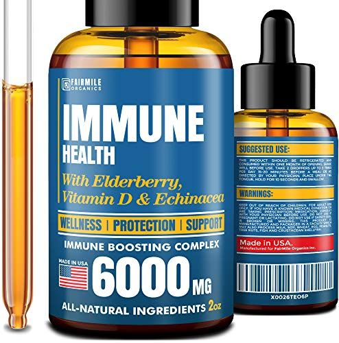 Immune Support Supplement - Liquid Immune Booster - Natural Immunity Formula with Elderberry, Echinacea & Vitamin D - Healthy Immune System Booster for Adults and Kids - Elderberry Syrup - Made in USA