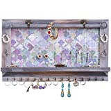 Jewelry Organizer Wall Mount Hanging Jewelry Organizer Mesh Rustic Earring Organizer Bracelet Rod Necklace Holder Shelf with Hooks,Wall Jewelry Hanger for Removable Rod (Whitewashed)