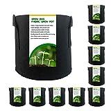 Bolsas de jardín de 2 galones, macetas no tejidas, bolsas de siembra de fieltro negro transpirable, paquete de 10