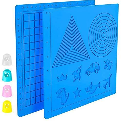 Aiyrchin 3D-Druck-Feder-Silikon-Design-Matte mit Basic Template und Mustern 3D Pen Drawing Pad mit 4-Finger-Protektoren
