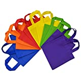 Reusable Gift Bags with Handles, Eco Friendly Flat Tote Bags, Party Favor Bags For Kids Birthday Parties, Multi Color, Bright Neon Colors 12 Pcs. 8x8 (No Gusset)