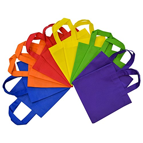 8x8 Inch Flat Reusable Gift Bags with Handles, Eco Friendly Totes,...