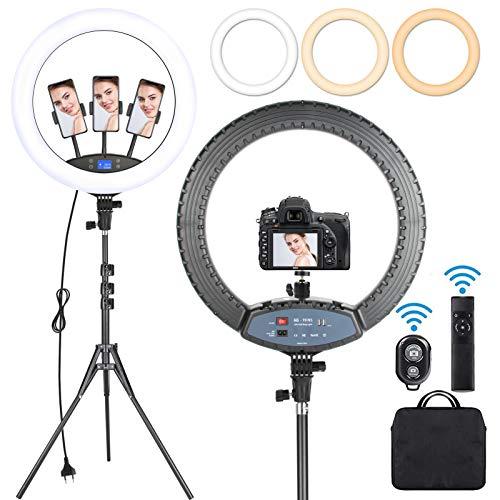 Railee Ringlicht mit Stativ 19 Zoll LED Ringlicht Dimmbare 3000K-6000K 60W Selfie Ringleuchte mit Stativ 190cm Ringlicht groß mit 3 Handyhalterungen LCD Bildschirm Fernbedienung Tragetasche