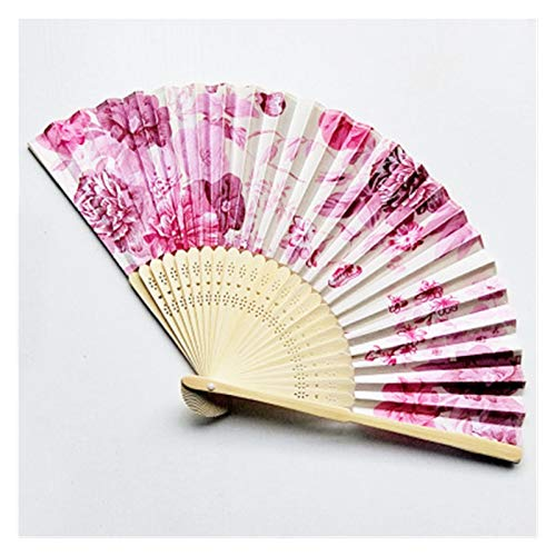 abanico plegable Vintage bambú plegable mano flor fan al fanático de la...