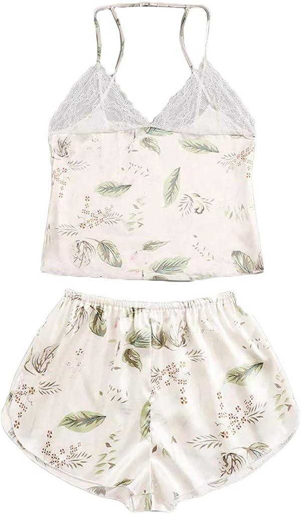 Gergeos Women Silk Pajamas Set Sexy Plus Size Lace Sleepwear Lingerie Underwear 3-6XL