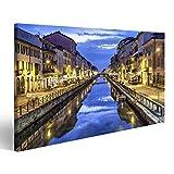 Bild Bilder auf Leinwand Kanal Naviglio Grande am Abend,