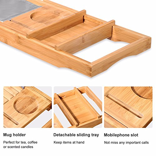 BOSSJOY Luxury Wood Bamboo Bathtub Bath Tub Caddy Tray with Extending Sides Built in Book Tablet Phone Wineglass Holder