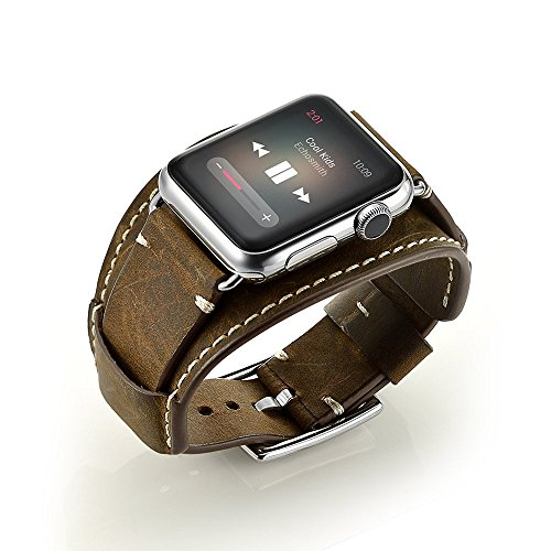 Aimtel Armband Kompatibel mit Apple Watch Series 6/SE/5/4(44mm) Armband,Series 3/2/1(42mm), Cuff Lederarmband Band Ersatz Uhrenarmband Zubehör für iWatch Series 6/SE/5/4/3/2/1 (Crazy House Coffee)