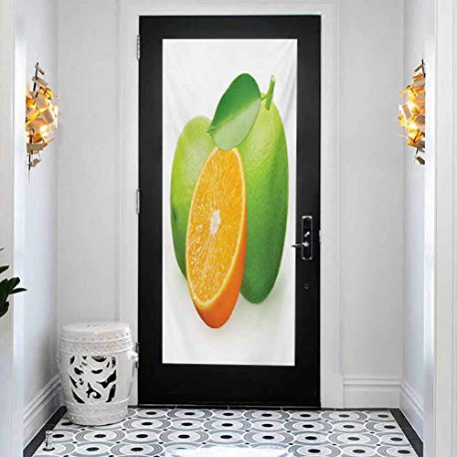 Window Film Door Sticker Glass Film 23.6 x 78.7 inches Window Stickers for Home Office,Green and Orange,Fresh Limes with Half Orange Winter Season Fruits Citrus Theme,Orange Green