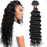 BLACKMOON HAIR Brazilian Hair One Bundle Weave Virgin Unprocessed Deep Wave Human Hair 28 inch Brazilian Deep Wave Hair Natural Black Color