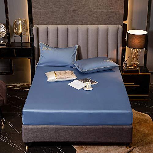 FFLDM Cubre colchón,Sábanas bajeras 100% algodón de Color sólido, Colcha Antideslizante de algodón de Fibra Larga para Hombre, Protector de colchón para niño-Blue_180 * 200 + 25cm