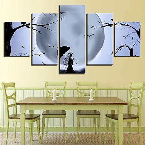 Zwart-wit poster muur decor foto print 5 stuks maan boom en vogel paraplu meisje nachtzicht canvas schilderij modulaire kunst