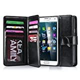 J.west Galaxy S5 Case, S5 Wallet PU Leather Multi Card Slots Series Magnetic Wallet Case Cover for Samsung Galaxy S5 SV Galaxy S V i9600- Black