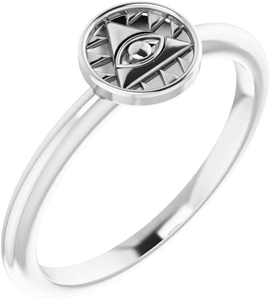 Solid 14k Import White Gold Eye Anniver Popularity of Wedding Stackable Providence