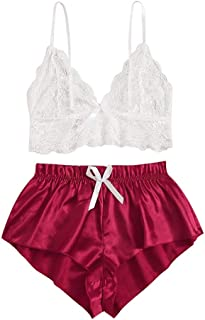 Womens Home Playsuit,Suma-ma Ladies 2PC Lingerie Lace Babydoll Nightdress Nightgown Sleepwear Underwear Set