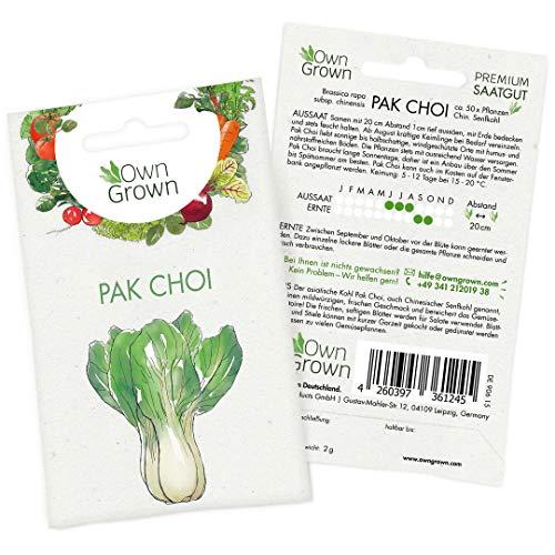 Pak Choi Samen: Premium Pak Choi Saatgut für ca. 50 köstliche Gemüse Pflanzen – Chinesischer Senfkohl für Balkon und Garten – Salat Samen Gemüse – Gemüsepflanzen für den Garten – Gemüse Samen OwnGrown