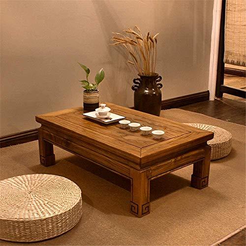 WSJ Geräumiger Massivholztisch Erker Fenstertisch Kotatsu Tisch Couchtisch Tatami Tisch Ulme Teetisch Laptop Tablett (Farbe: Braun, Größe: 76x44x26cm)