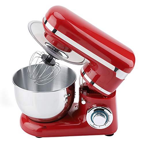 Keukenmachine, 6-snelheden elektrische keukenmachine - 1200W - draaibare mixer met accessoires, blender + roestvrijstalen garde (rood)