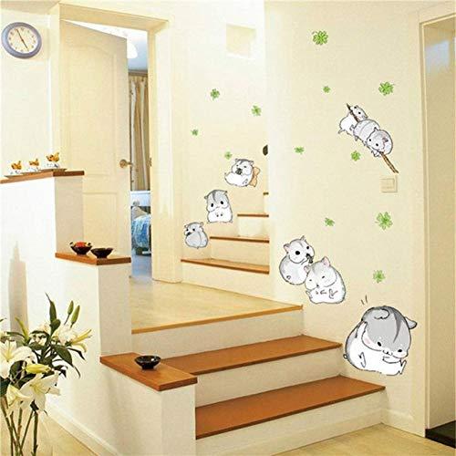 VIOYO Muursticker Woonkamer Slaapkamer Achtergrond Leuke Plezier Hamsters Spelen Muursticker Voor Kinderen Kinderkamer Mooie