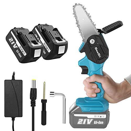 Seesii Mini Cordless Chainsaw, 4-inch Mini Electric Chainsaw One-Hand...