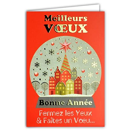 Carte avec enveloppe - Meilleurs Vœux - Bonne Année Boule à Neige Flocons Maisons Ville Village Sapin de Noël étoiles Rouge Or Doré Dorure
