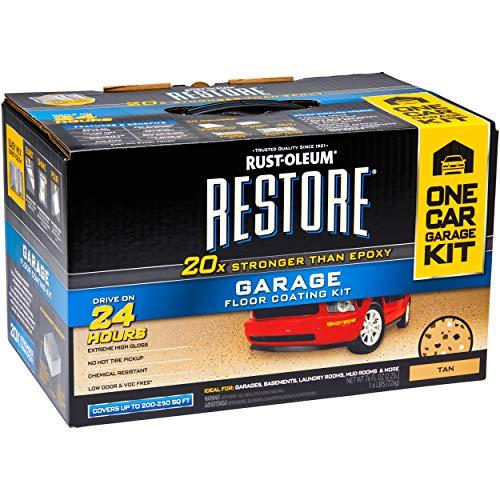 Rustoleum Garage Epoxy Floor Kit, Restore Polycuramine Epoxy Garage Floor Coating Kit, 2-Part Tan Gloss Garage Floor Paint Coating Kit (Actual Net Contents: 76-fl oz) (Tan)