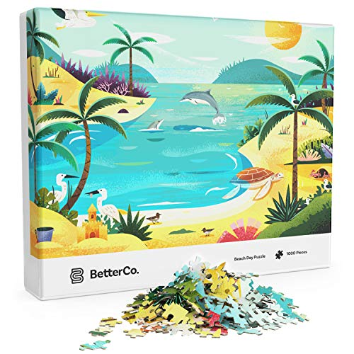 Beach Day Puzzle - BetterCo. Difficult Jigsaw Puzzles 1000 Pieces - Challenge Yourself with 1000 Piece Puzzles for Adults, Teens, and Kids