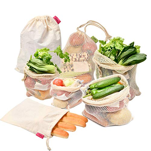 Kyerivs Wiederverwendbare Obst- und Gemüsebeutel aus Baumwolle, Natural Mesh Baumwolle Einkaufsnetz Obst für Plastikfreies Leben 7er Set,Zero Waste