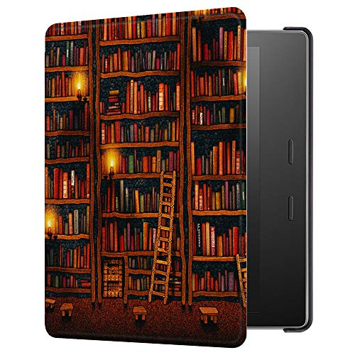 Huasiru Painting Case for Kindle Oasis 2017/2019 (7 inches, 9th/10th Gens) Cover with Auto Sleep/Wake, Library