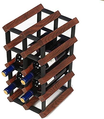 Estante de Vino de Moda Estante de Vino Simple Wood Wood Rack de Vino, Sala de Estar en casa Rack de Vino Pantalla de Soporte de Pared Colgando Estante de Vino (Color : Brown)