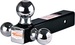 Towever 84173 inches Class III/IV Trailer Hitch Tri Ball Mount (Chrome Ball, Hollow Shank)