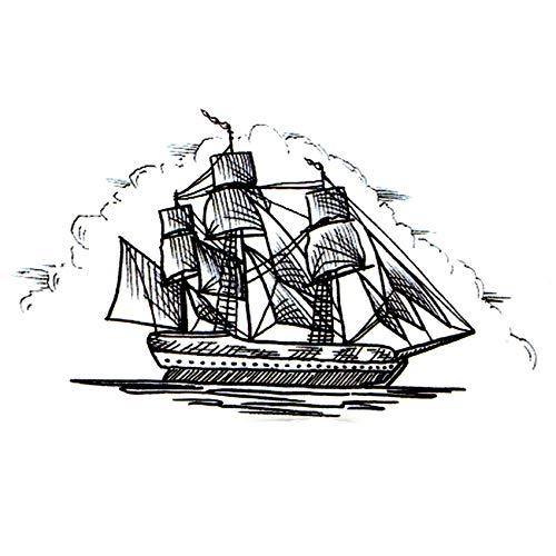 Segelboot Schiff Wasserdicht Temporäre Tattoo Aufkleber maquiagemYacht Fake TattooSegelbootDie Flash Kids Tatoo Aufkleber
