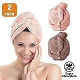 Haarhandtuch f/ür alle Haartypen. Kopfhandtuch f/ür Freih/ändiges Trocknen von Haaren DYNESSE Premium Turban Handtuch mit Knopf Mikrofaser Haarturban