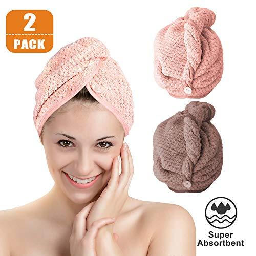 Turban Handtuch Schnelltrocknend 2 Stück, Saugfähig Mikrofaser Haarturban Haar Trocken Handtuch mit Schleife und Knopf, Haare Handtücher Kopfhandtuch Haartrockentuch für Mädchen Damen (Braun & Rosa)