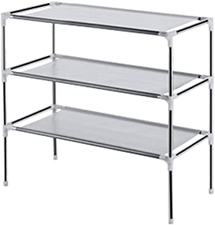 WJL Storage Shoe Rack, Gray Three-Layer 11x21x22 Inch Home Creative Simple Assembly Shoe Storage Rack, Suitable for Bedroom Living Room Dormitory Corridor Bathroom