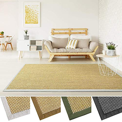casa pura Grand Tapis de Salon 100% sisal Naturel | avec Bordure Coton | 4 Couleurs et 2 Tailles | Tiger Eye, Nature - 160x230cm