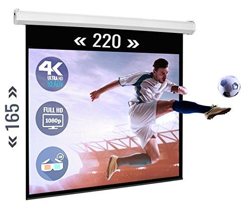 ULTRALUXX Motorscherm 220x165 cm projectievlak, E-Line Serie home cinema beamer canvas, 275 cm (108 inch) diagonaal, montagematen 256x9x9 cm, 4:3 masker, inclusief IR-afstandsbediening en wandschakelaar, zwarte voorloop, wand- of plafondmontage