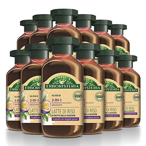 Antica Erboristeria 2 in 1 Shampoo Idratante Latte di Riso, Shampoo e Balsamo per Capelli con Doppie Punte con Ingredienti Naturali, 12 pezzi x 225 ml