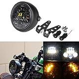 HOZAN 5.75 5-3/4inch Black LED Motorcycle Headlight Integrated Turn Signal with Headlight Housing for Kawasaki for Honda Shadow Suzuki Motorbikes Metric bikes Cruisers Choppers