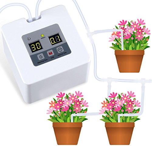 Landrip Kit di irrigazione a Goccia Micro Automatica, Sistema di autoirrigazione con Timer elettronico per Acqua da 30 Giorni, Carica USB 5V per 10 Piante in Vaso da Interno