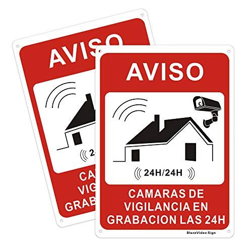 2 Piezas Cartel de Señal de Videovigilancia Señal de Advertencia Señal de Aluminio para Exteriores Señales de Alarma
