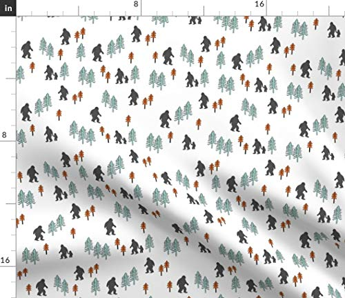 Spoonflower Fabric - Sasquatch Forest Mythical Animal Orange Mint Grey Nature Monster Printed on Petal Signature Cotton Fabric by The Yard - Sewing Quilting Apparel Crafts Decor