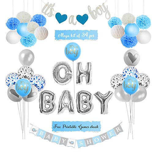 KingMade Baby Shower Decorations for Boy Kit - It's A Boy Banner, Oh Baby Foil Letter Balloons, Tissue Flowers, Paper Lanterns | Mega Boy Baby Shower Decoration Kit + Free Printable Games Ebook