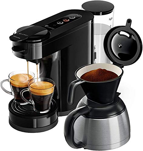 Senseo HD6592/60 coffee maker Freestanding Pod coffee machine Black 1 L 7 cups Manual HD6592/60, Freestanding, Pod coffee machine, 1 L, Ground coffee, 1450 W, Black
