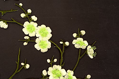 Two Asian Cherry Blossom Sakura Flower Iron on Embroidered Appliques Patch Japanese Chinese (Green)
