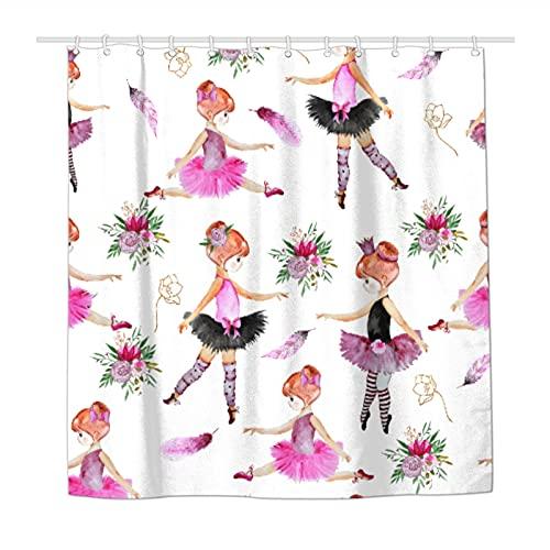 Duschvorhang Ballerina Blume Feder Wasserdicht Polyester Stoff Duschvorhänge für Badezimmer mit 12 haltbaren Kunststoffhaken 183 x 183 cm