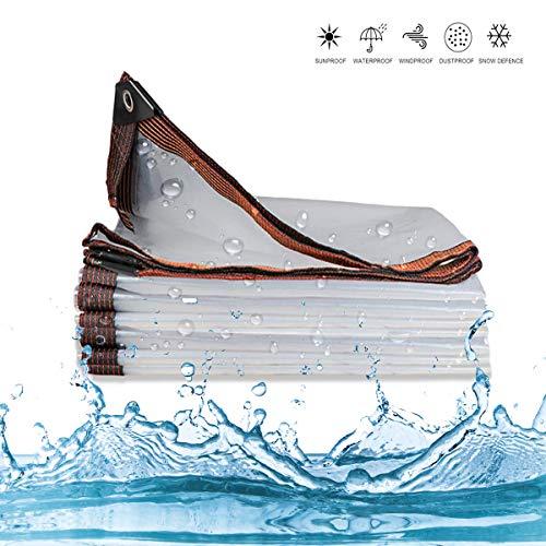 Telone Schutzplane Transparent Wasserdicht, Gewebeplane Abdeckplane mit Ösen, UV Beständige, Reißfeste, Plane Durchsichtig für Außenbereich Garten, 5 Mil Dick, 120 g/m²,3×4M/10×13ft