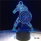 Película Capitán América Shield Figura 3D Mesa de acrílico multicolor Luz nocturna,ilusión LED Toque Lámpara USB Niño niños Juguete Regalo
